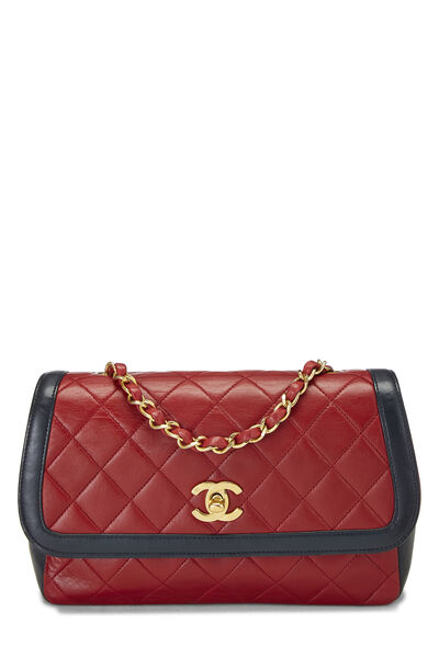 Red Quilted Lambskin Border Flap Small