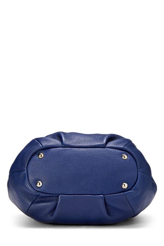 Blue Vitello Daino Shoulder Bag, , large image number 4