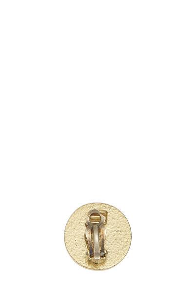Gold & Black Enamel 'CC' Round Earrings, , large
