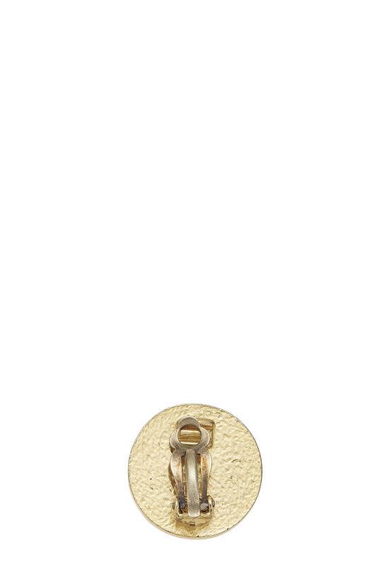 Gold & Black Enamel 'CC' Round Earrings, , large image number 1