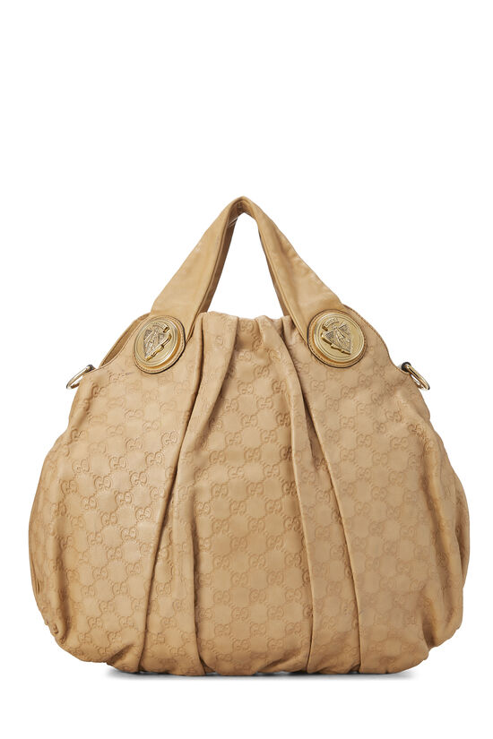 Beige Gucci Signature Leather Hysteria Convertible Tote Large, , large image number 4