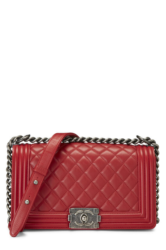 Red Quilted Lambskin Boy Bag Medium, , large image number 0