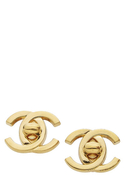 Gold 'CC' Turnlock Earrings Large