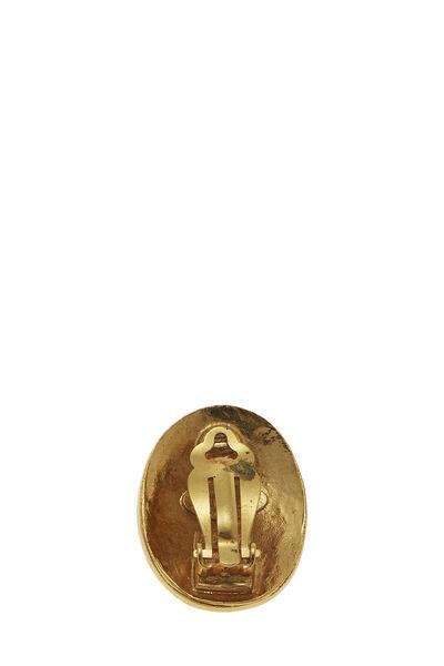 Gold 'CC' Paris Oval Earrings, , large