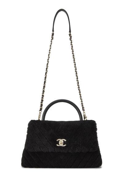 Black Chevron Shearling Coco Handle Bag, , large