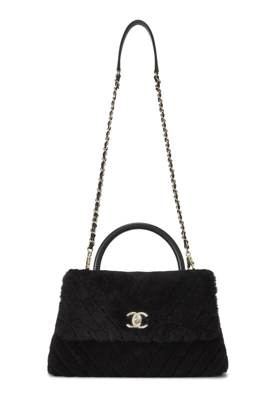 Black Chevron Shearling Coco Handle Bag, , large image number 1