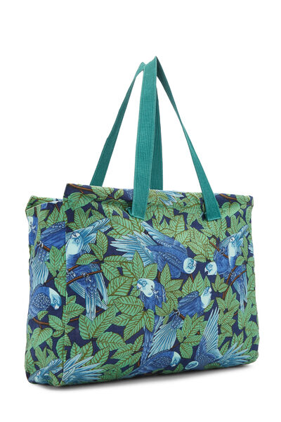Green & Blue Tropical Canvas Tote, , large