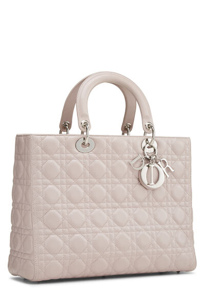 Pink Cannage Quilted Lambskin Lady Dior Large, , large