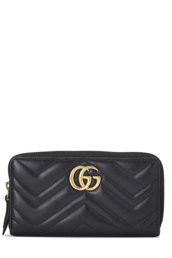 Black Leather 'GG' Marmont Wallet, , large image number 0