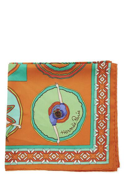 Orange & Multicolor 'Belles du Mexique' Silk Scarf 90, , large