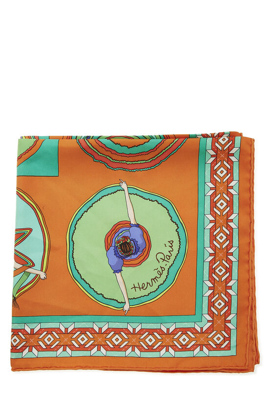 Orange & Multicolor 'Belles du Mexique' Silk Scarf 90, , large image number 1