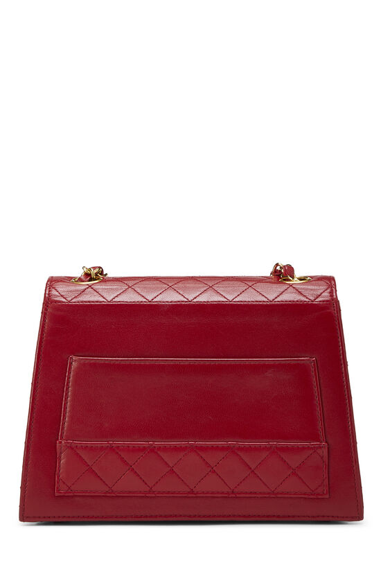 Red Quilted Lambskin Trapezoid Shoulder Bag, , large image number 3