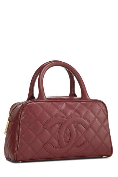 Burgundy Quilted Caviar Bowler Mini, , large