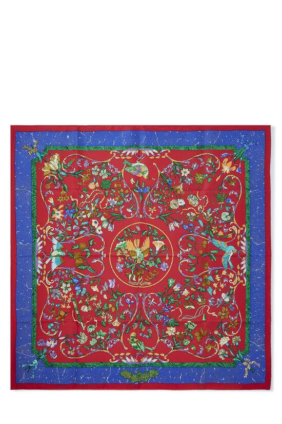 Red & Multicolor 'Pierres d'Orient et d'Occident' Silk Scarf 90, , large image number 0