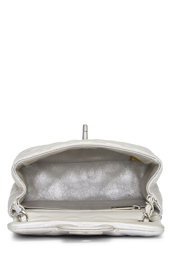 Metallic Silver Quilted Lambskin Classic Square Flap Mini, , large image number 5