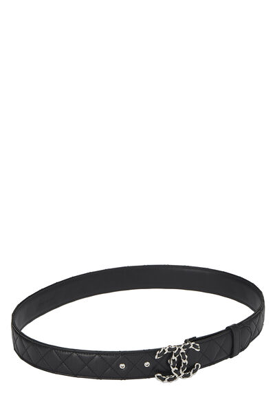 Black Quilted Caviar 'CC' Belt, , large