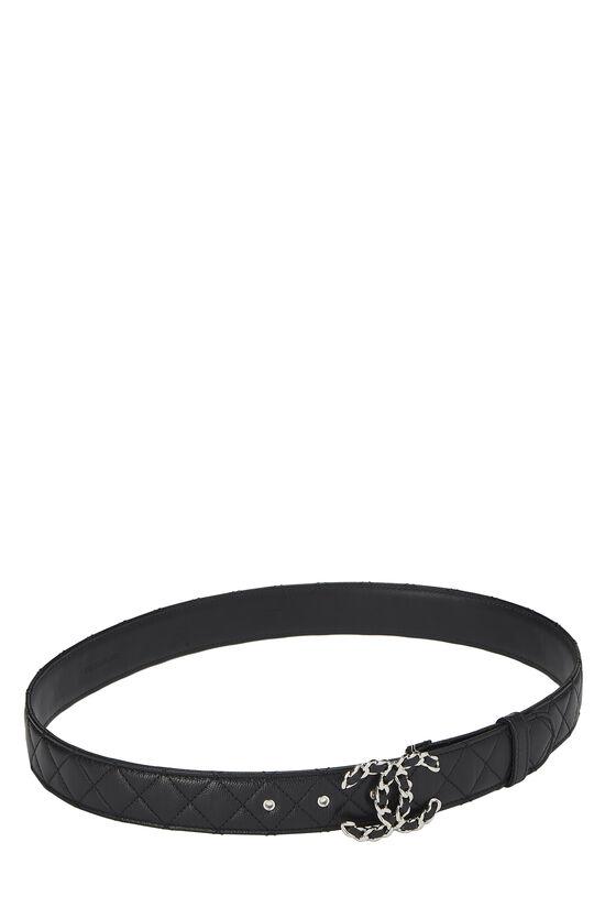 Black Quilted Caviar 'CC' Belt, , large image number 1