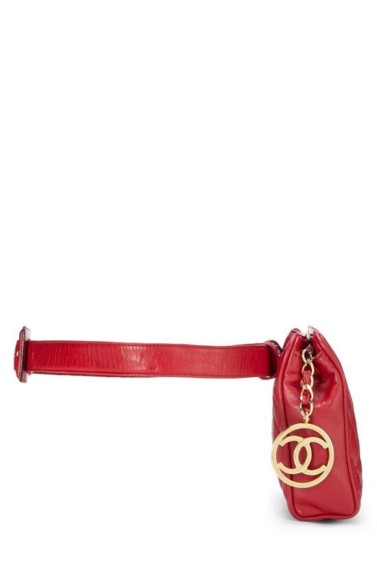 Red Quilted Lambskin Belt Bag 30, , large image number 2