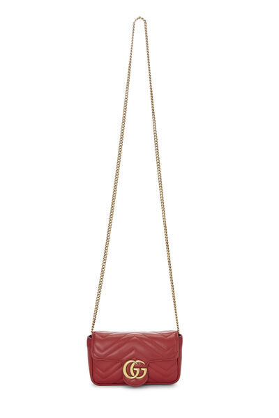 Red Leather Marmont Crossbody Extra Mini, , large