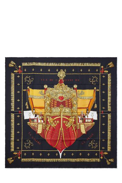 Black & Multicolor 'Vue du Carrosse de la Galère' Silk Scarf 90