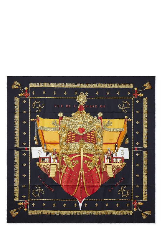 Black & Multicolor 'Vue du Carrosse de la Galère' Silk Scarf 90, , large image number 0