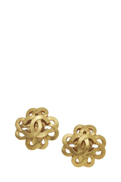 Gold Woven Clover 'CC' Earrings