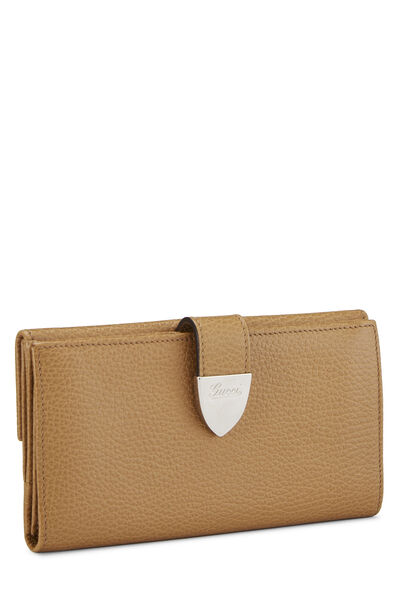 Beige Grained Leather Tab Wallet, , large