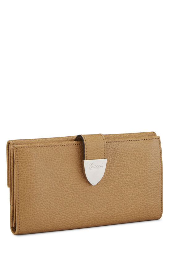Beige Grained Leather Tab Wallet, , large image number 1