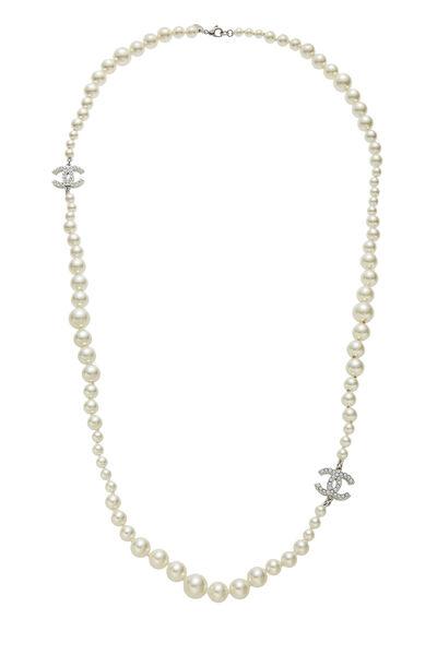 Silver & Faux Pearl 'CC' Necklace
