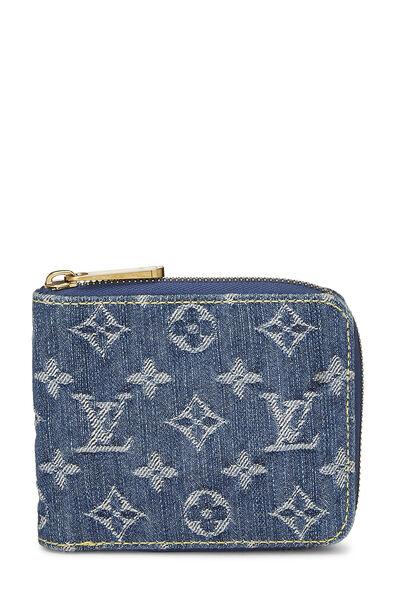 Blue Monogram Denim Compact Zip Wallet