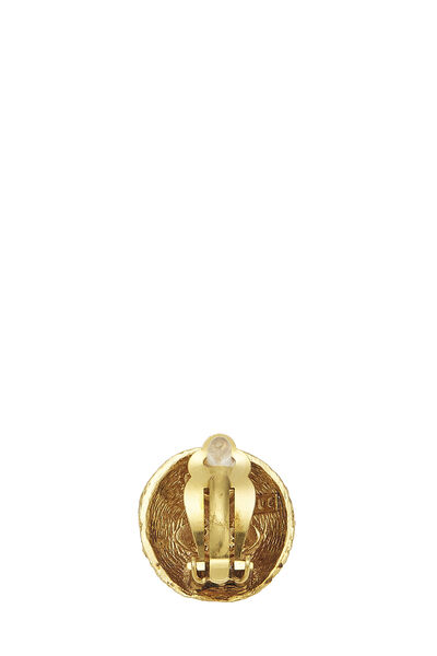 Gold Woven 'CC' Round Earrings, , large