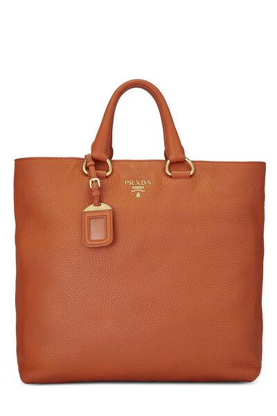 Orange Vitello Daino Shopping Tote