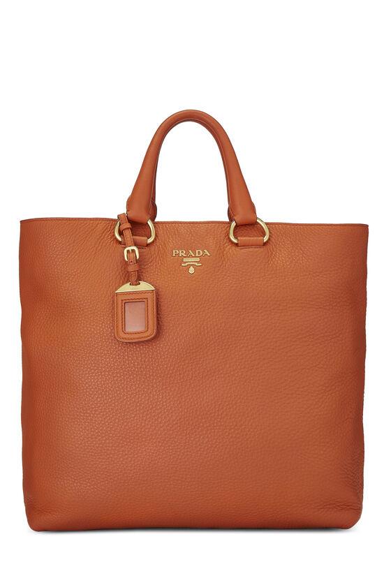 Orange Vitello Daino Shopping Tote, , large image number 0