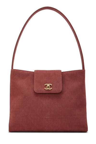 Red Quilted Canvas Shoulder Bag Large