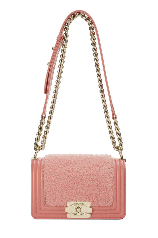 Pink Shearling Boy Bag Small, , large image number 6