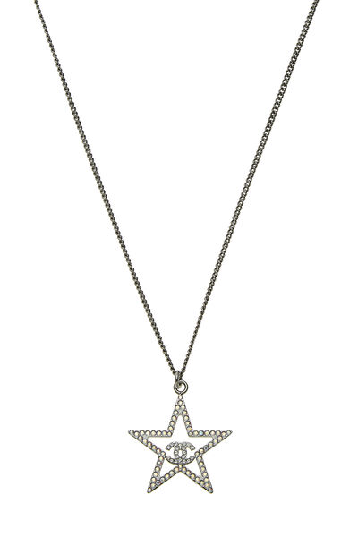 Gunmetal & Crystal Star Necklace, , large