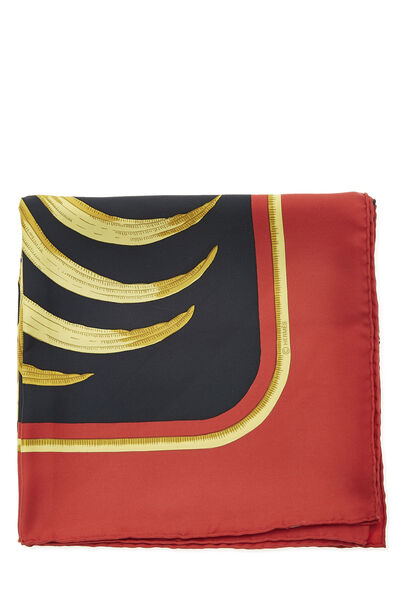 Red & Multicolor 'Le Tigre Royal' Silk Scarf 90, , large