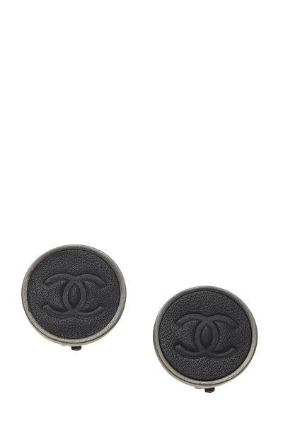 Gunmetal & Black Leather 'CC' Earrings