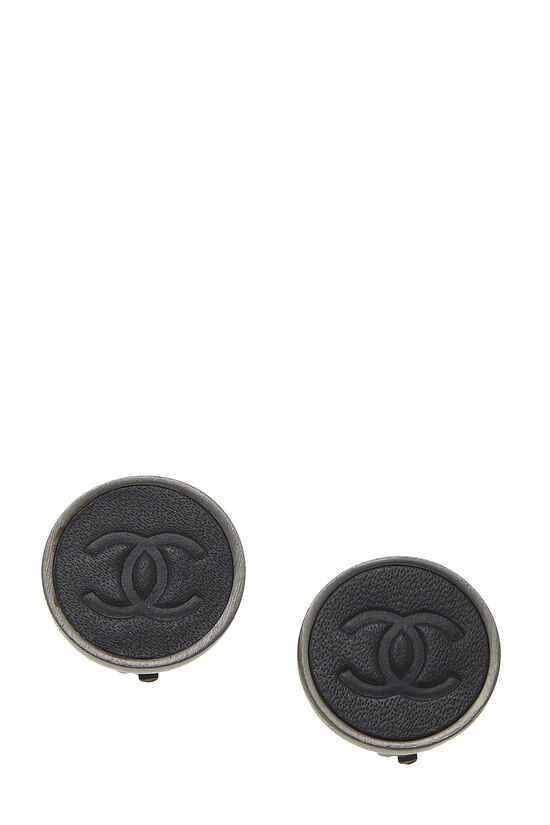 Gunmetal & Black Leather 'CC' Earrings, , large image number 0