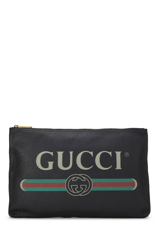 Black Leather Logo Pouch, , large image number 0