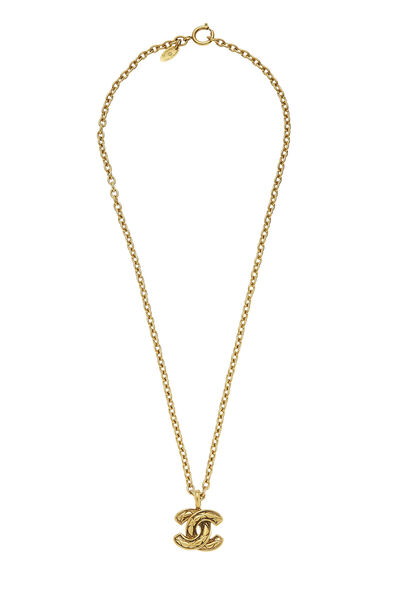 Gold Quilted 'CC' Necklace Small
