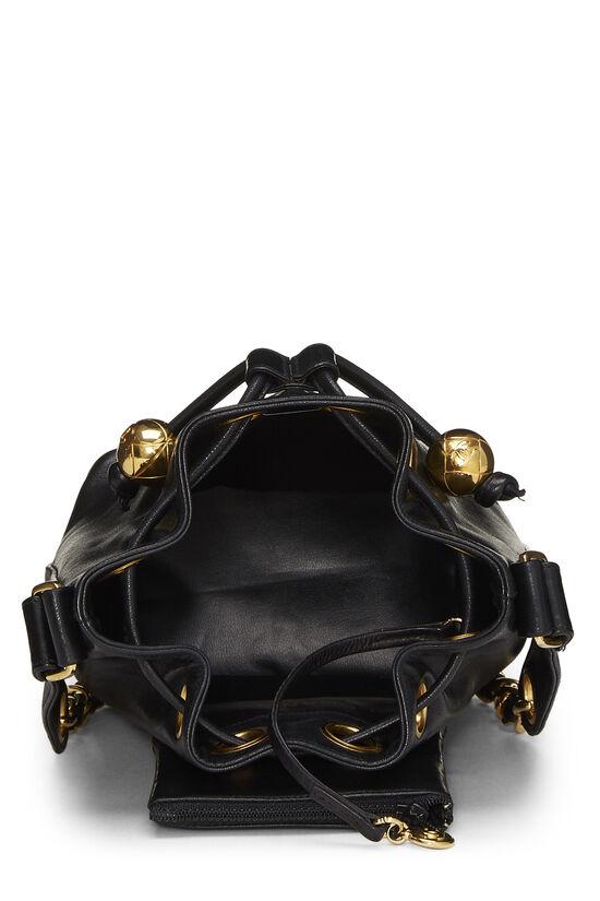 Black Lambskin 'CC' Bucket Bag Small, , large image number 6