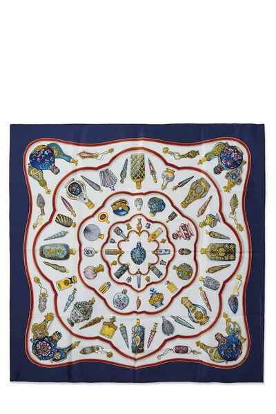 Navy & Multicolor 'Qu' Importe le Flacon' Silk Scarf 90