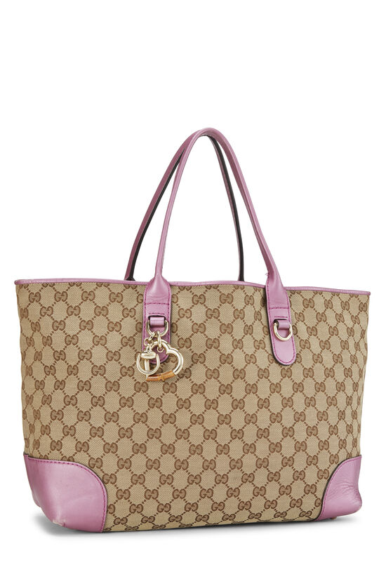 Pink GG Canvas Heart Bit Tote, , large image number 1