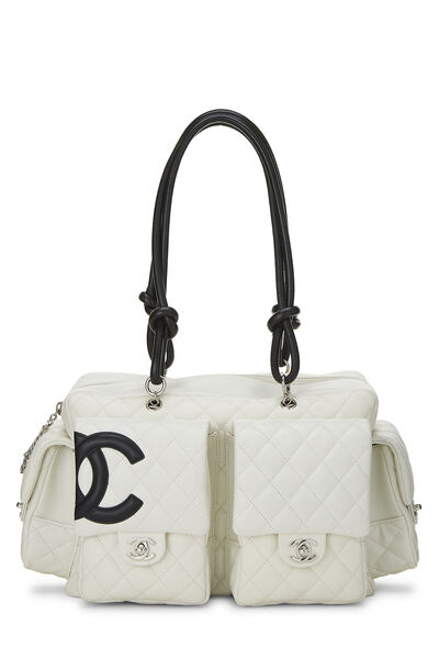 White Quilted Calfskin Cambon Ligne Reporter Large