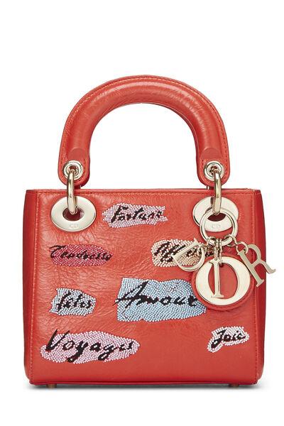 Red Beaded Calfskin Lady Dior Mini