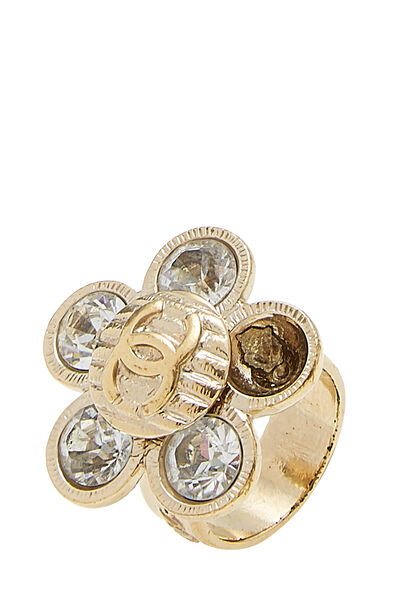 Gold & Crystal CC Flower Ring