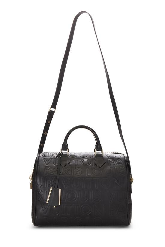Black Embossed Leather Souple Speedy Cube, , large image number 6