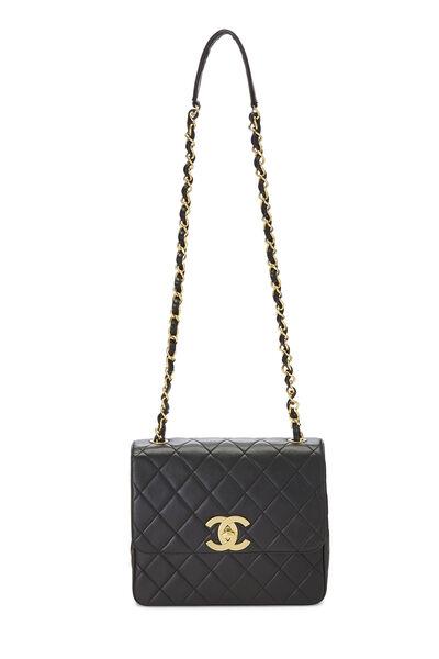 Black Quilted Lambskin 'CC' Square Shoulder Bag, , large