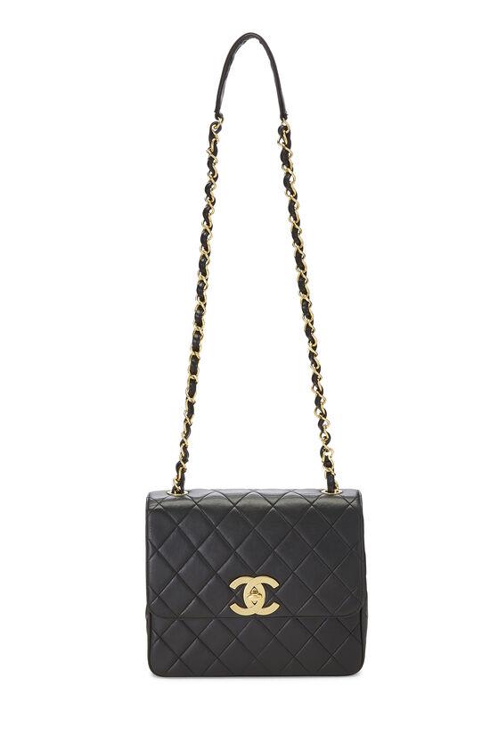 Black Quilted Lambskin 'CC' Square Shoulder Bag, , large image number 1